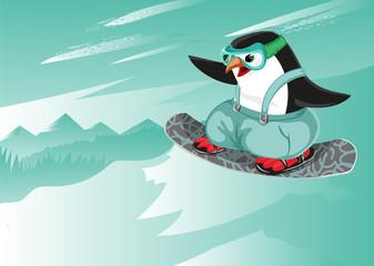 snowboard cartoon vector character penguin sport character