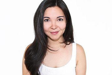 Mixed Brunette Woman. White Background