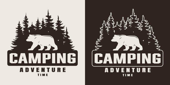 Vintage monochrome summer camping print