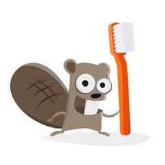 funny illustration of a cartoon beaver with a toothbrush