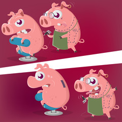 crazy cartoon pig is getting a piggy bank tattoo in two perspectives