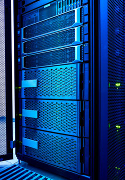 Computer server and raid storage in datacenter cold blue toning
