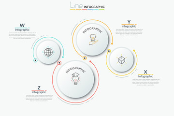 Four separate paper white round elements of different size with thin line pictograms inside and text boxes. Modern infographic design template. Vector illustration for brochure, presentation, report. Wall mural