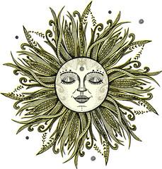 Sun tattoo sketch, hand drawn illustration