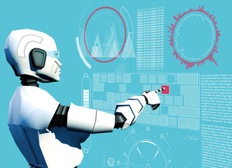 Artificial intelligence, cyborgs. Robot. Hud, Head-up display, science fiction. Sci-fi. Computer and programming, data processing. Project. 3d render