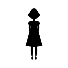 Black silhouette woman standing, vector