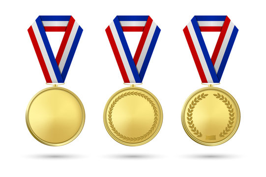 Vector 3d Realistic Gold Award Medal Icon Set with Color Ribbons Closeup Isolated on White Background. The First Place, Prizes. Sport Tournament, Victory or Winner Concept