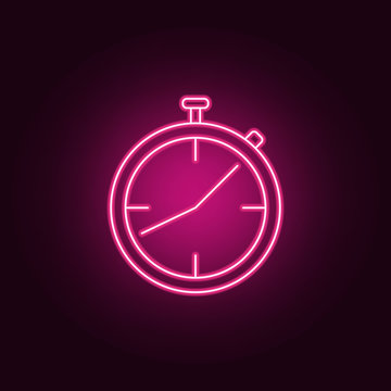 stopwatch neon icon. Elements of Measure set. Simple icon for websites, web design, mobile app, info graphics