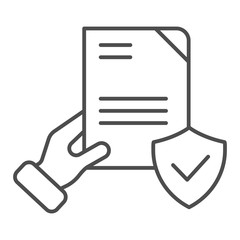 Document verified in hand thin line icon. Checked agreement vector illustration isolated on white. Form with tick outline style design, designed for web and app. Eps 10.