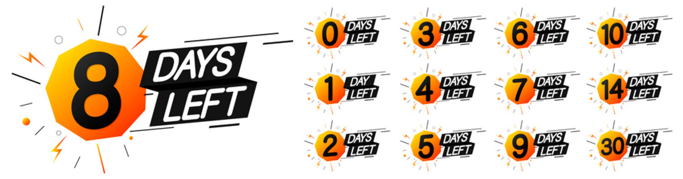 Days Left for Sale, or to end offer, set countdown tags, discount banners design template, app icons, vector illustration