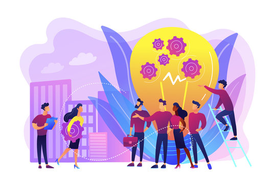 Company newcomers, personnel, staff. New team members, adaptation of new employees, first days in company, new employees training concept. Bright vibrant violet vector isolated illustration