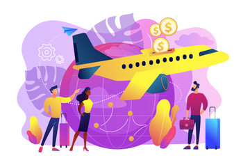 Cheap tickets for air transportation. Cost-efficient last minute flight offers. Economy class airlines for tourists, travelers with limited budget. Low cost flights concept vector illustration