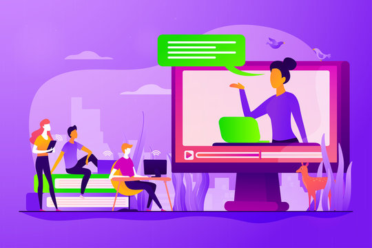 Futuristic school learning environment. On-demand webinar, lecturing. Online teaching, share your knowledge, English teacher online concept. Vector isolated concept creative illustration