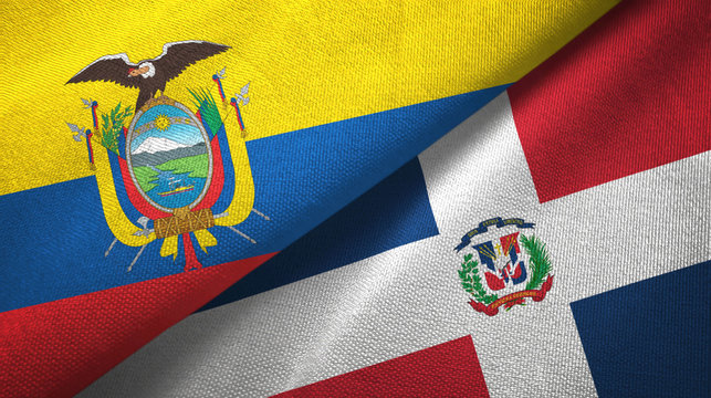 Ecuador and Dominican Republic two flags textile cloth, fabric texture