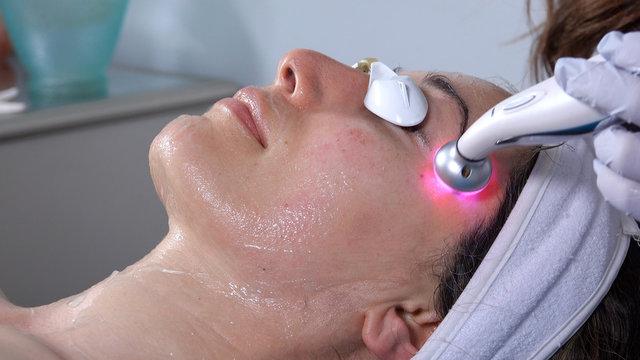 Eye lift facial, using microcurrent LED