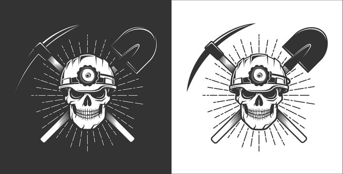 Miner logo in retro style. Skull in a mining helmet with a lantern. Pick axe and shovel.