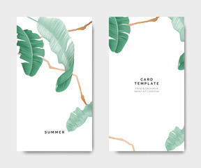 Minimalist botanical card template design, banana leaves with golden line on white, pastel vintage theme