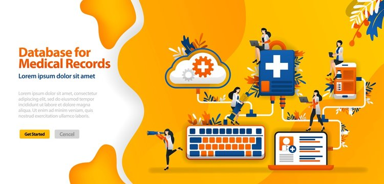 Cloud Database for medical Records and hospital communication systems connected in wifi, smartphones and laptops .vector illustration concept can be use for landing page,  ui, web, mobile app, poster