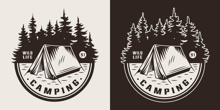 Vintage summer camping emblem