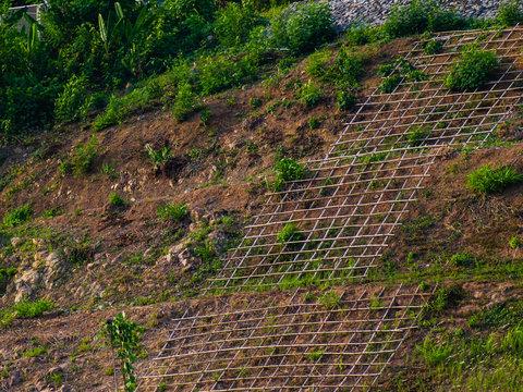 Shallow cellular confinement system to prevent soil erosion on slope. Landscape.
