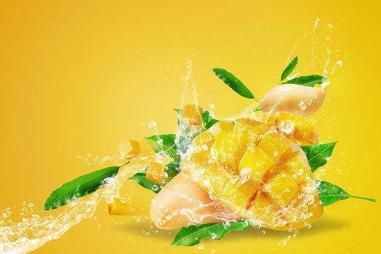 Water splashing on Fresh Sliced Mango fruit with mango cubes Isolated on yellow background