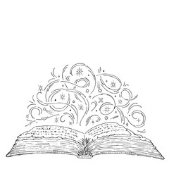 Open magic book engraving ink. Curls and stars magic concept. Vector hand drawn sketch vintage style