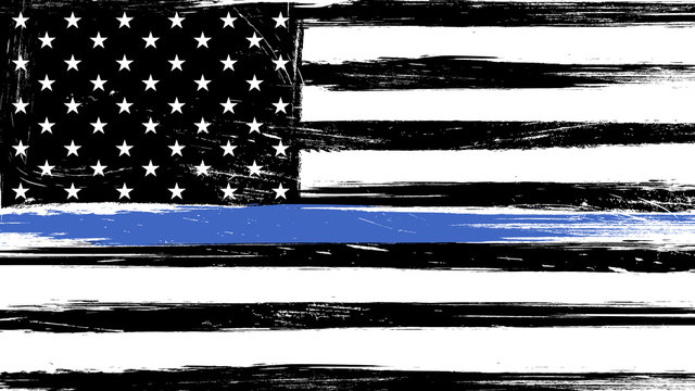 Grunge USA flag with a thin blue line - a sign to honor and respect american police, army and military officers