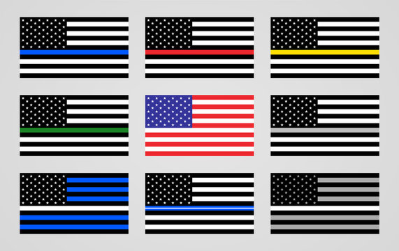 National flag of the USA and thin line foundations flags.