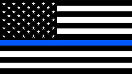 USA flag with a thin blue line - a sign to honor and respect american police, army and military officers Fototapete