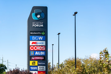 Entrance sign at Belmont Forum Shopping Centre in Cloverdale, Perth, Western Australia. Sign shows major brands including Big W, Kmart, Coles, Aldi, JB Hifi. Belmont, Perth, Australia. - May 17, 2019.