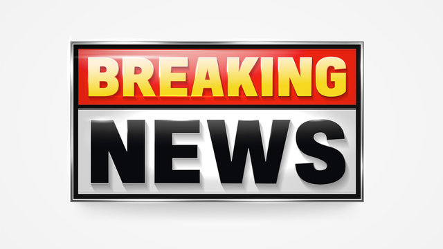 Breaking news announcement banner for broadcasting television show.
