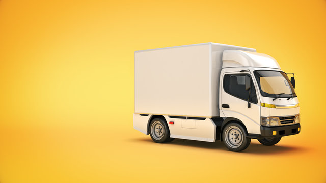 white delivery truck. 3d rendering
