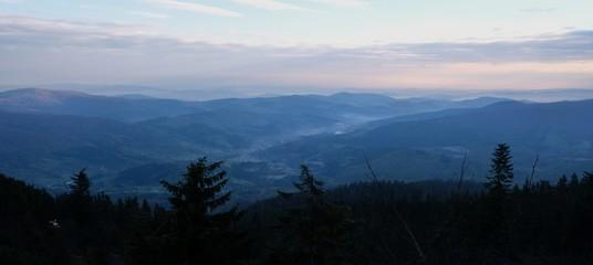 Aluminium Prints Babia Gora - mountain range in Beskid Zywiecki during spring with fog, clouds and sun