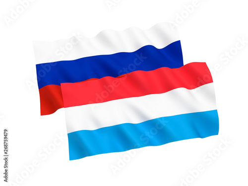 National fabric flags of Russia and Luxembourg isolated on