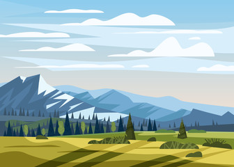 Beautiful summer mountain landscape valley rural countryside, green hills, bright color blue sky, meadows with mountains
