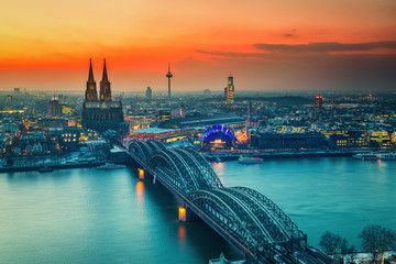 Cologne Cathedral and Hohenzollern Bridge at night, Germany Wall mural