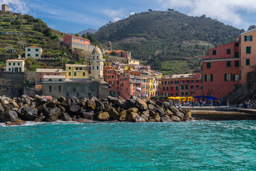 Vernazza village seen from a boat, Cinque Terre, Italy
