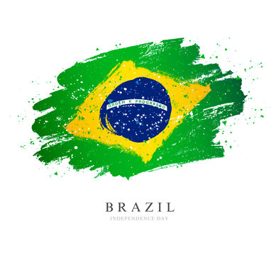 Brazil flag. Vector illustration. Brush strokes. Independence Day.