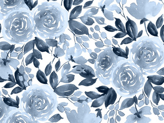 Monochrome watercolor background with roses. Hand painted roses in indigo blue