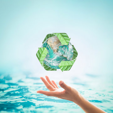World ocean day, saving water campaign concept: Element of this image furnished by NASA .
