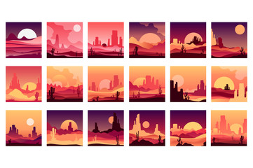 Vectoe set of cards with western desert landscapes with silhouettes of rocky mountains, cactus plants and sunset sunrise. Design in gradient colors