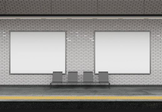 Mock up of an subway Billboard Advertisement - 3d rendering