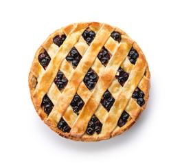 Fototapeta Tasty blueberry pie on white background obraz