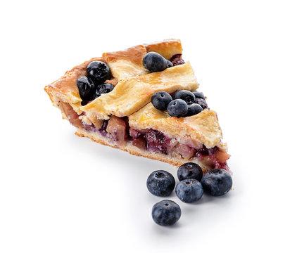 Piece of tasty blueberry pie on white background