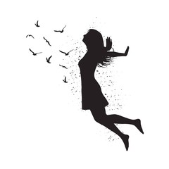 Silhouette of freedom girl with  birds. Vector fashion illustration