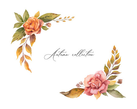 Watercolor vector autumn wreath with red rose and leaves isolated on white background.