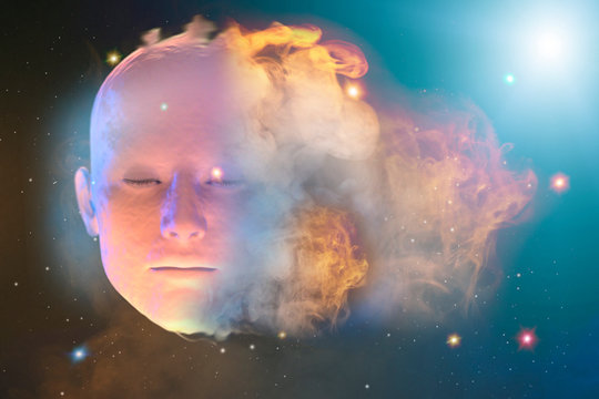 3D render face of man in space as a symbol of philosophy and psychology of dreams inner   reality, mental health, imagination, thinking and dreaming