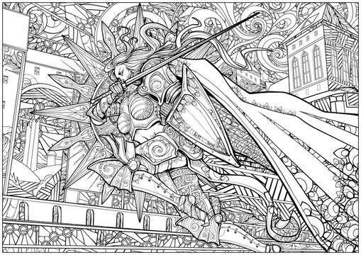 Coloring page for adults . Girl knight rushes into battle in armor holding a shield and a sword