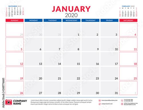 Free Printable January 2020 Calendar Design Typography January 2020. Calendar planner stationery design template. Vector