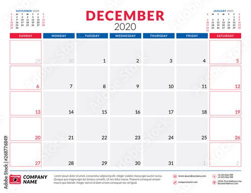 Free Printable January 2020 Calendar Design Typography December 2020. Calendar planner stationery design template. Vector